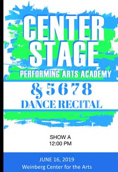 Center Stage Performing Arts Academy 2019 recital on DVD