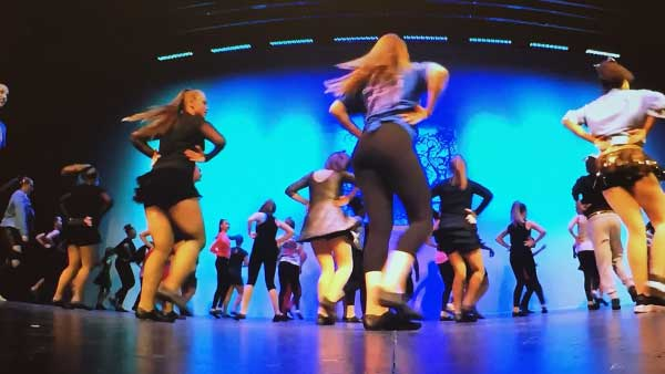 Intermediate dancers on stage - GoPro shot